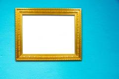 tła błękit cementu ramy złoto Zdjęcia Royalty Free