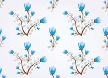 tła błękit kwitnie bezszwowego rocznika Obrazy Royalty Free
