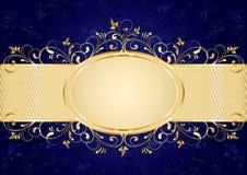 tła błękit rama złota Fotografia Royalty Free