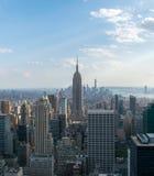 tła błękitny budynków miasta wysoka Manhattan nowa nieba linia horyzontu York Zdjęcie Royalty Free