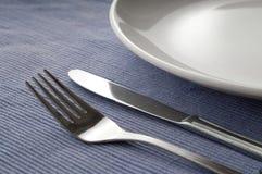 tła błękitny cutlery set Zdjęcia Stock