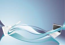 tła błękitny komputeru osobisty pastylka ilustracja wektor