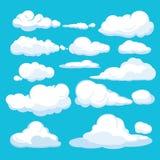 tła błękitny kreskówki chmur projekta ilustracja Niebieskiego nieba cloudscape powietrzny błękit chmurnieje różne formy i kształt royalty ilustracja