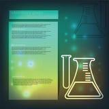 tła błękitny szklany glassware laboratorium Chemiczna kolba Fotografia Stock