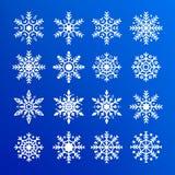 tła błękitny ustalony płatka śniegu wektor Abstrakcjonistyczna kolekcja biali płatki śniegu Nowego Roku i boże narodzenie projekt fotografia stock