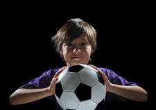 tła balowej chłopiec zmroku piłka nożna zdjęcie royalty free