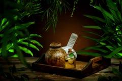 tła bambusowych rzeczy storczykowa palmowa zdroju kamieni woda zdjęcia royalty free