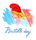 tła bastille uroczyste dzień fajerwerków flaga 14th Lipiec Francuski święta państwowego kartka z pozdrowieniami i plakatowy proje Zdjęcie Stock