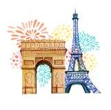 tła bastille uroczyste dzień fajerwerków flaga 14th Lipiec Francuski święta państwowego kartka z pozdrowieniami i plakatowy proje Obrazy Stock