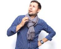 tła biznesmena przypadkowy zbliżenia copyspace odizolowywający przyglądającego męskiego mężczyzna modela zadumany portreta główko Zdjęcia Stock