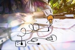tła biznesmena telefon komórkowy laptopu biel działanie Zdjęcie Royalty Free