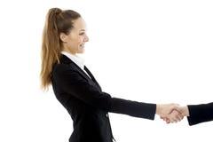 tła bizneswomanu uścisk dłoni pracowniany biel Zdjęcie Royalty Free