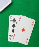 tła blackjack kart zielony bawić się Zdjęcie Stock