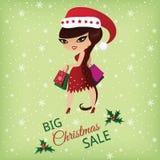 tła bożych narodzeń dziewczyny szczęśliwy sprzedaży zakupy biel Royalty Ilustracja