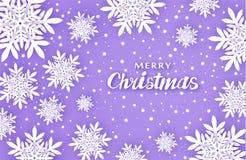 tła bożych narodzeń nowy rok Tworzy wygodę Wolumetryczni płatek śniegu z cieniami w purpurowych brzmieniach royalty ilustracja