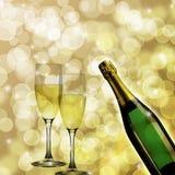 tła bokeh butelki szampańscy szkła dwa Zdjęcie Stock