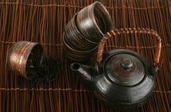 tła brąz zieleni ustalona herbata Obrazy Stock