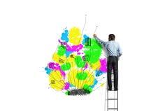 tła brainstorming biznesowy bizneswomanu leek target1104_0_ target1105_0_ wysokiego główkowanie w górę wzroku target1110_0_ biel Zdjęcia Stock