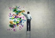 tła brainstorming biznesowy bizneswomanu leek target1104_0_ target1105_0_ wysokiego główkowanie w górę wzroku target1110_0_ biel Fotografia Stock