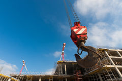 tła budynku budowy żurawia haczyk Obrazy Royalty Free