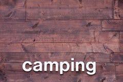 tła campingowych listów biały drewniany Obrazy Royalty Free