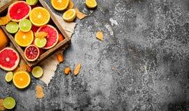 tła cytrus przygotowywający tekst Świeża cytrus owoc w starym pudełku Fotografia Stock