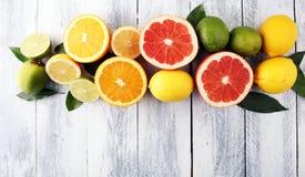 tła cytrus przygotowywający tekst Asortowana świeża cytrus owoc Cytryna, pomarańczowy wapno, grapefruitowy Obrazy Royalty Free