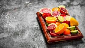 tła cytrus przygotowywający tekst Cytrus owoc w starej tacy Fotografia Stock