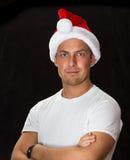 5 tła czarny bou bożych narodzeń ślicznych kapeluszowych starych portreta Santa rok Zdjęcia Stock