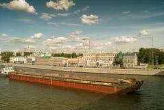 tła czarny ikon linie świecąca setu transportu wektoru woda Rzecznej łodzi holowniczy przebojowiec w kanałach Moskwa rzeka przeci Zdjęcia Royalty Free