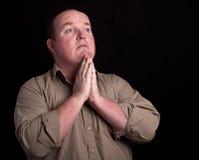 tła czarny męski portreta modlenie Fotografia Stock