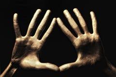 tła czarny złocista ręk farba Zdjęcia Stock