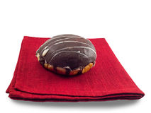 tła czekoladowego pączka odosobniony biel Obrazy Royalty Free