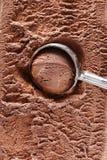 tła czekolady zakończenia śmietanki lód odizolowywał w górę biel Obraz Stock