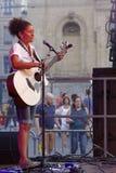 tła czerń kontrasta gitara zaświecał gracza sylwetki sceny silnego biel Zdjęcia Royalty Free