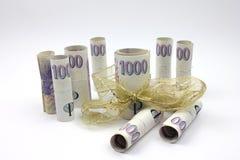 tła czeski pieniądze biel Zdjęcia Royalty Free