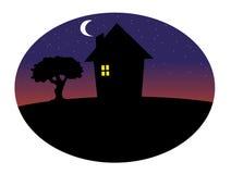 tła domowa noc sylwetka ilustracji