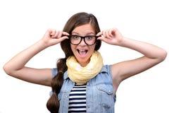 tła dziewczyna nad krótkopędu pracownianym nastolatka biel Fotografia Royalty Free