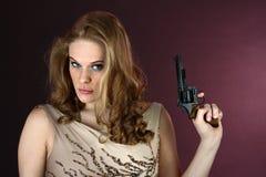 tła dziewczyny armatni target437_0_ czerwieni szpieg armatni obraz stock