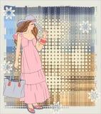 tła dziewczyny folwarczek ilustracji