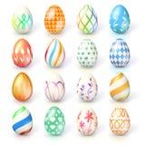 tła Easter jajek ilustracja odizolowywał wektorowego setu biel Ręcznie robiony kolekcja Wielkanocni jajka z różnymi teksturami i royalty ilustracja