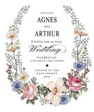 tła eleganci serc zaproszenia romantycznego symbolu ciepły ślub Pięknego kwiatu Chamomile poślubnika Różany ślaz royalty ilustracja