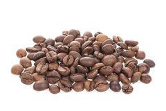 tła fasoli kawa odizolowywający piec cienia biel Zdjęcie Stock