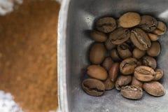 tła fasoli zamknięta kawowa tekstura kawowy Obrazy Royalty Free