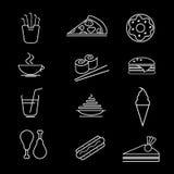 tła fasta food ikony odosobniony ustalony biel również zwrócić corel ilustracji wektora Karmowa kolekcja ilustracja wektor