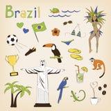 tła granic Brazil kraj wyszczególniać flaga ikony odizolowywali regionu ustalonego kształta biel Zdjęcia Royalty Free