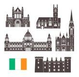 tła granic kraj wyszczególniał flaga ikon Ireland odizolowywającego regionu ustalonego kształta biel Odosobniona Irlandia archite ilustracja wektor