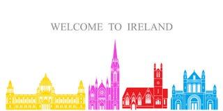 tła granic kraj wyszczególniał flaga ikon Ireland odizolowywającego regionu ustalonego kształta biel Odosobniona Irlandia archite royalty ilustracja
