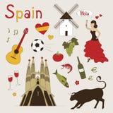 tła granic kraj wyszczególniał flaga ikony odizolowywającego regionu ustalonego kształta Spain biel Zdjęcia Royalty Free
