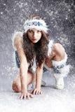 tła grey śniegu zima kobieta Obraz Stock